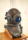 Obsolete diving helmet with clipping path ina museum Royalty Free Stock Photography
