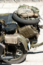 Obsolete military motorcycle Royalty Free Stock Images