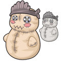 Obsolete soft toy snowman with rough stitches