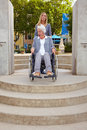 Obstacle for wheelchair user Stock Images