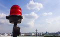 Obstruction light on rooftop red Royalty Free Stock Images