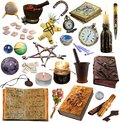 Big set with magic and occult objects isolated on white Royalty Free Stock Photo