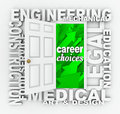 Occupation word door job choices opportunities a illustrating career and such as engineering construction medical design legal Stock Image