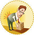 Occupational health man lifting a box incorrectly Stock Image