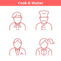 Occupations avatar set: cook, chef, waiter, baker. Thin outline