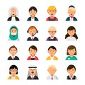 Occupations avatars. Waiter stewardess judge advocate manager builder male and female profession vector icons