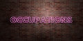 OCCUPATIONS - fluorescent Neon tube Sign on brickwork - Front view - 3D rendered royalty free stock picture