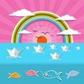 Ocean abstract sunset sunrise illustration with sun birds rainbow Stock Photography