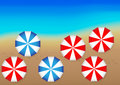 Ocean and Beach Umbrellas Stock Photos