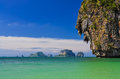 Ocean coast landscape with cliffs and islands at phra nang bay krabi thailand Stock Photography