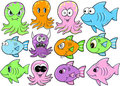 Ocean Creatures Set Royalty Free Stock Image