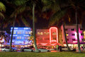 Ocean drive art deco hotels illuminated at night miami beach florida usa the center of the district which is home to about Royalty Free Stock Photography