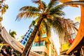 Ocean drive in miami with restaurants in front of the famous art deco style colony hotel usa july located at and built s is most Royalty Free Stock Image