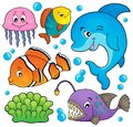 Ocean fauna topic set 1 Royalty Free Stock Photo
