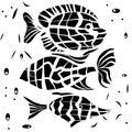 Ocean fish illustration background pattern in black white