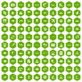 100 ocean icons hexagon green