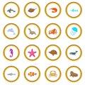 Ocean inhabitants icons circle