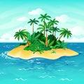 Ocean island cartoon. Palm trees sea uninhabited islands sky sand beach sun panorama view solitude tropical nature