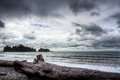 Ocean landscape at the coast of Northwest Pacific Stock Photography