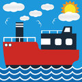 Ocean liner boat ship at sea view in day with big sun and wave. Royalty Free Stock Photo
