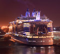 Ocean liner at night modern cruise ship view in port Royalty Free Stock Image