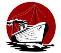 Ocean liner on red background Royalty Free Stock Photography