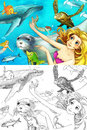The ocean and the mermaids coloring page with colorful preview for children Stock Photos