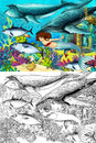 The ocean and the mermaids coloring page with colorful preview for children Royalty Free Stock Photo