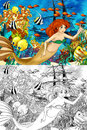 The ocean and the mermaids coloring page with colorful preview for children Stock Photo