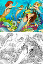 The ocean and the mermaids coloring page with colorful preview for children Stock Image