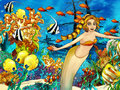 The ocean and the mermaids happy colorful illustration for children Royalty Free Stock Photos