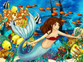 The ocean and the mermaids happy colorful illustration for children Stock Photo