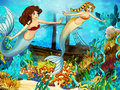 The ocean and the mermaids happy colorful illustration for children Stock Photos