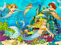The ocean and the mermaids happy colorful illustration for children Royalty Free Stock Photo