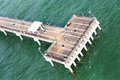 Ocean pier a photographed from a moving helicopter Stock Images