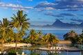 Ocean przy zmierzchem. Polynesia. tahiti.Landscape Obrazy Stock