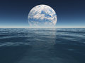 Ocean or sea of alien world or earth with terraformed moon beyond body water Royalty Free Stock Photography