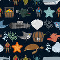 Ocean seamless pattern.  Ocean inhabitants. Starfish and shark o Royalty Free Stock Photo