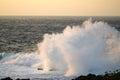 Ocean Spray Sunset Cape Zampa, Okinawa Japan. Royalty Free Stock Photo