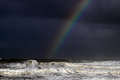 Ocean stormy rainbow Royalty Free Stock Photo