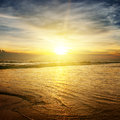Ocean a sunrise over the Royalty Free Stock Photography
