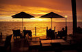 Ocean Sunset Holiday Fiji Umbrella Chairs Royalty Free Stock Photo