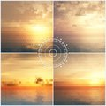 Ocean sunset mosaic backgrounds a set of sunsets vector Stock Photo