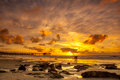 Ocean sunset over pacific at la jolla california Royalty Free Stock Images