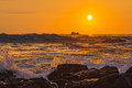 Ocean Surf at Sunset Kailua-Kona Big Island Hawaii USA Royalty Free Stock Photo
