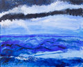 Ocean view acrylic painting Stock Photos
