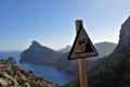 Ocean view and danger sign in Mallorca, Illes Balears, Majorca Royalty Free Stock Photo