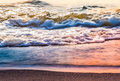 Ocean wave bodies of the in sunset time Royalty Free Stock Photography