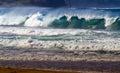 Ocean Wave Breaking Onto Shoreline Royalty Free Stock Photo