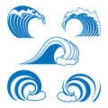 Ocean wave contour set in blue color isolated on the white background Royalty Free Stock Image